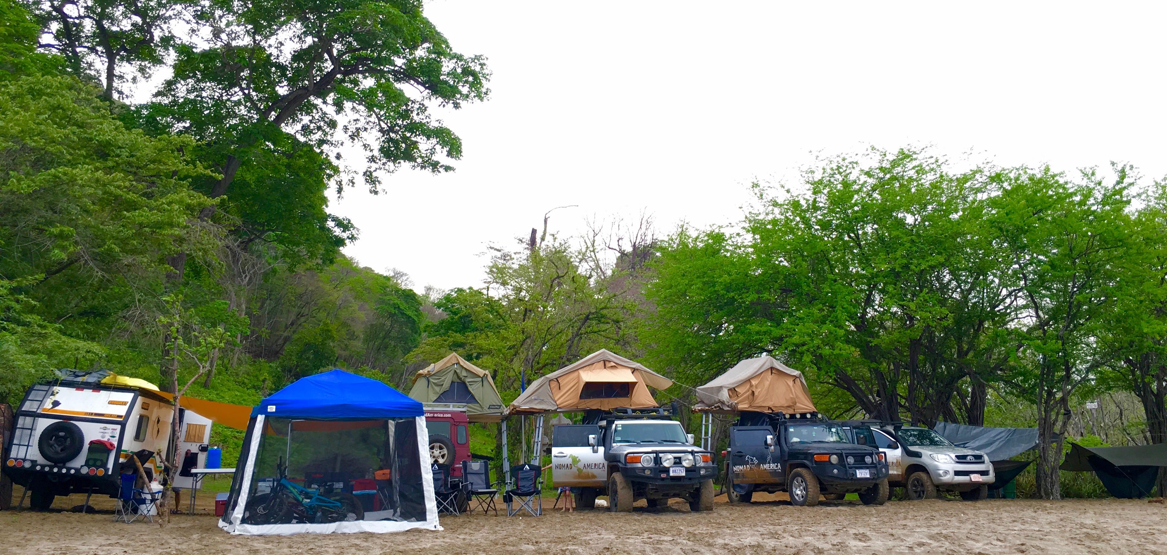 Costa Rica beach camping